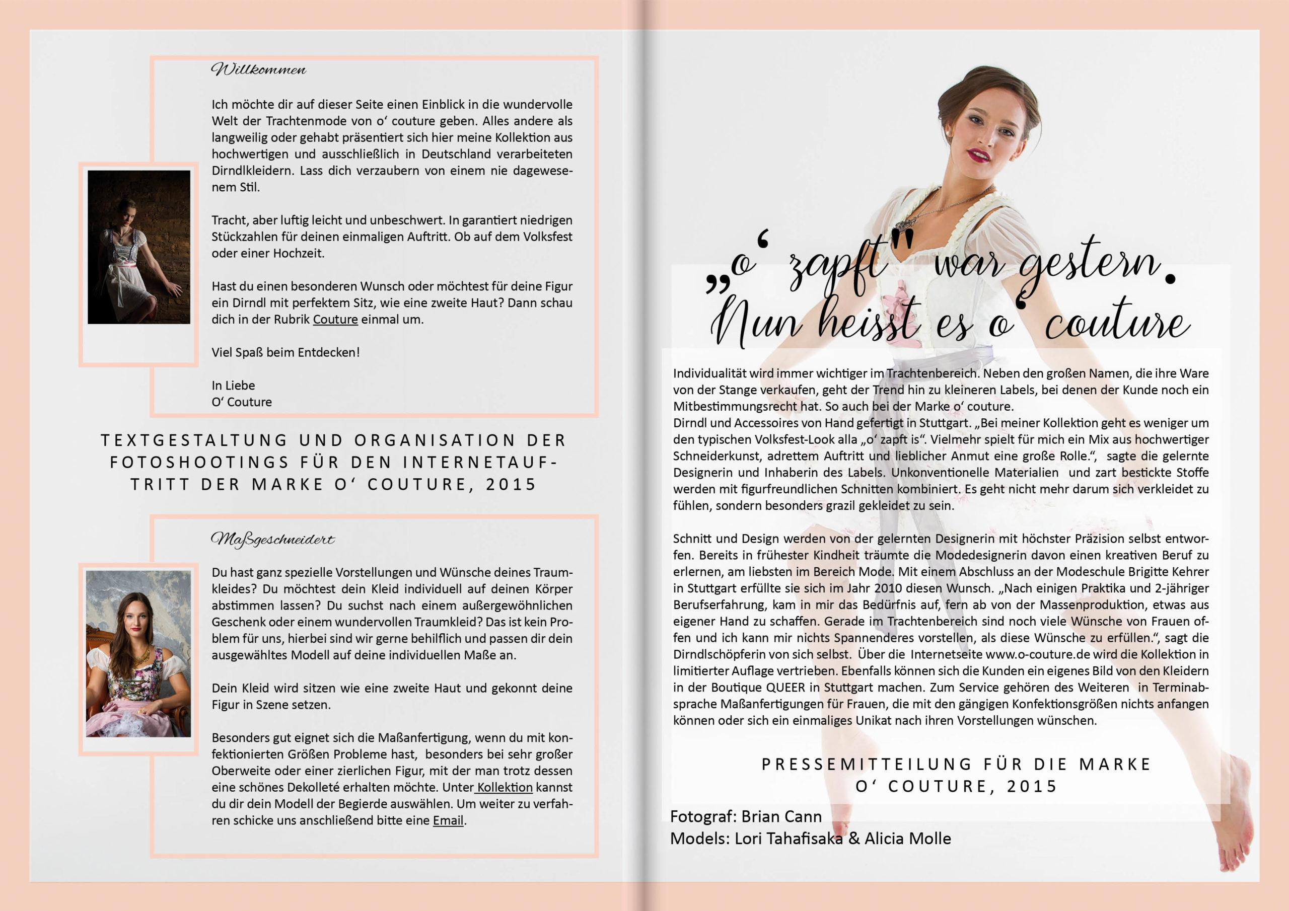 Modekarriere Pressetext Webdesign