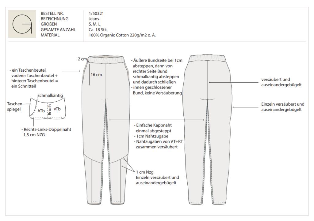 Technische Zeichnung für dein Modelabel
